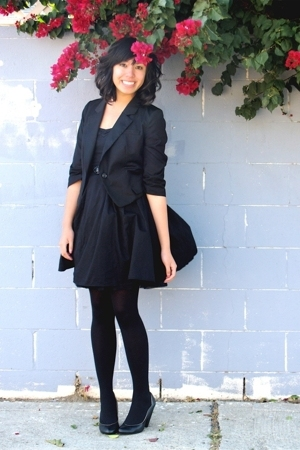 Urban Outfitters blazer - H&amp;M dress - Dance Tights stockings - Seychelles via Ur