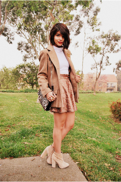 tan boyfriend vintage coat - nude asos boots