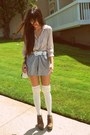 Heather-gray-urban-outfitters-shorts-ivory-ruffle-ozonesockscom-socks-light-