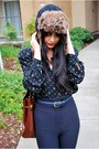 Black-american-apparel-pants-brown-faux-fur-hat-black-vintage-blouse-gray-