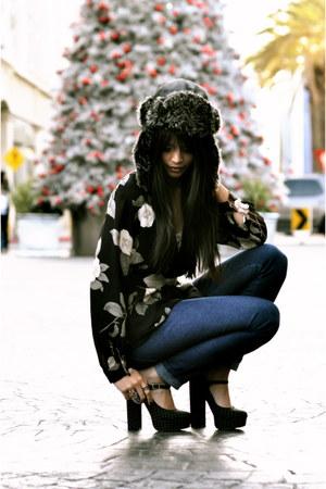 black floral vintage blouse