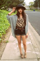 black straw boater thrifted hat - black stud Topshop shorts - heather gray cape