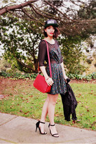black inlovewithfashion dress - black obey hat
