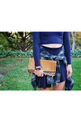 Army-green-plaid-zara-shirt-brown-clutch-daame-bag-navy-zara-skirt