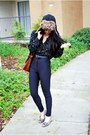 Black-american-apparel-pants-brown-faux-fur-hat-black-vintage-blouse-gray-