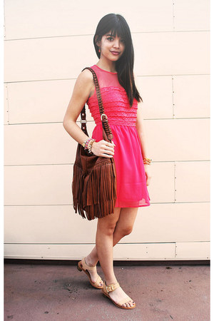 tawny fringe H&amp;M bag - coral organza lace nectar clothing dress