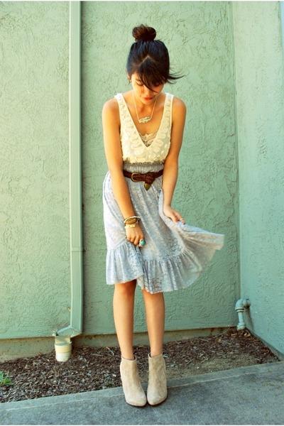 tan suede ankle asos boots - brown LUXLA bracelet - periwinkle fluffy Urban Natu