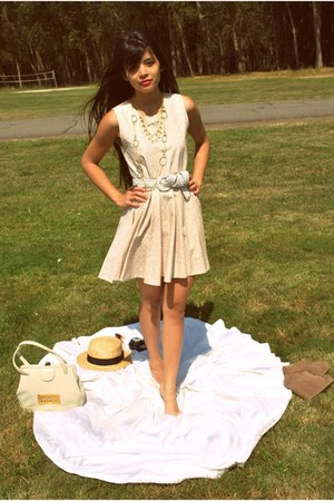 light pink lotus flower Casper&Pearl dress - tan boater thrifted hat - ivory vin
