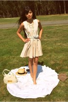 light pink lotus flower Casper&Pearl dress - tan boater thrifted hat - ivory vin