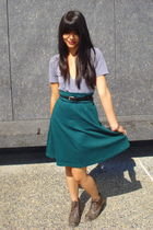 green American Apparel skirt - gray American Apparel shirt - brown Forever 21 bo