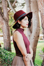 Brown-leopard-zara-heels-maroon-h-m-hat-white-mimi-boutique-bag