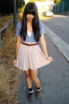 beige chiffon American Apparel skirt - brown oxfords Target shoes