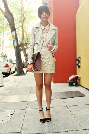 ivory lace lulus skirt - ivory leather Guess jacket