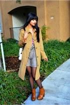 light brown wool H&M shorts - tawny clog Bakers boots - camel merona coat