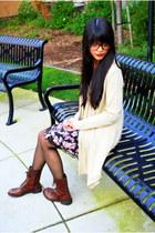 dark brown threadsence boots - black floral Target dress - tan knit Forever 21 c