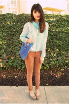 light blue Forever 21 blouse - tan bdg Urban Outfitters jeans