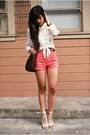 Dark-brown-thrifted-bag-coral-american-apparel-shorts-tan-zara-wedges