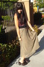 Beige-vintage-skirt-red-hollister-top-gray-forever-21-cardigan-brown-payle