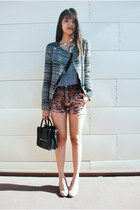 dark gray tweed Zara jacket - black Mimi Boutique bag