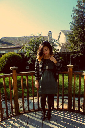 black Forever 21 cardigan - dark green Forever 21 dress