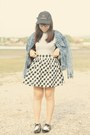 Black-oxfords-shoes-charcoal-gray-denim-levis-jacket-black-gingham-skirt