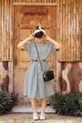 Charcoal-gray-shirtdress-thrifted-vintage-dress-black-box-vintage-bag