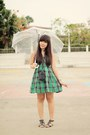 Green-plaid-wet-seal-dress