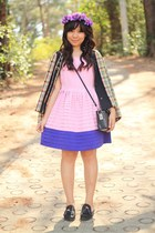 turquoise blue blazer - bubble gum two tone dress