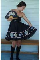 black skirt dress dress - black ballet flats shoes - black knee high socks socks