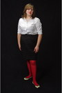 Red-monoprix-tights-white-gap-shirt-black-houndstooth-mossimo-skirt