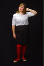 White-gap-shirt-red-monoprix-tights-black-houndstooth-mossimo-skirt