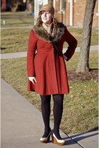 camel Galeries Lafayette hat - salmon H&M coat - black MS Mode tights