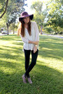 Heather-gray-booties-boots-deep-purple-floppy-world-market-hat