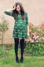 black River Island boots - green OASAP dress