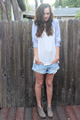 Heather-gray-ankle-boots-mossimo-boots-sky-blue-cut-offs-american-eagle-shorts