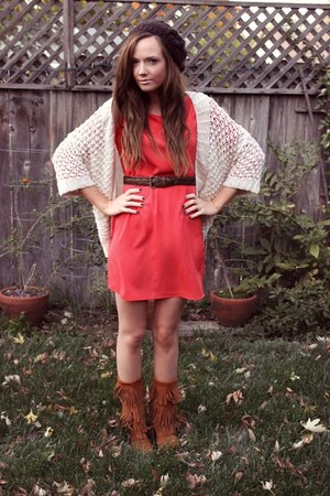 red riffraff dress - brown fringe moccasin Minnetonka boots