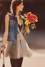 Light-pink-poka-dots-zara-dress-sky-blue-topshop-jacket-black-vest-h-m-vest