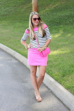 hot pink JCrew shirt - hot pink kate spade bag - hot pink JCrew skirt