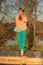 hot pink JCrew top - light pink JCrew top - turquoise blue asos pants