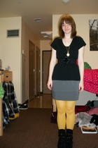 black shirt - black belt - heather gray skirt - mustard tights - black boots - g