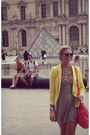Striped-gianni-bini-dress-yellow-zara-blazer-marc-by-marc-jacobs-bag