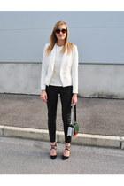 Zara blazer - H&M bag - Zara sunglasses - leather H&M pants - Zara vest