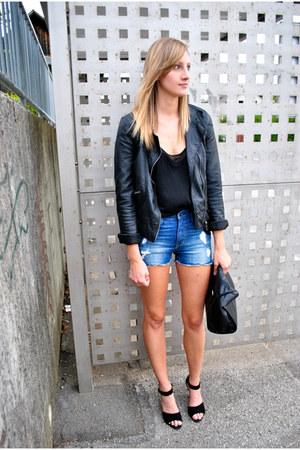leather Zara jacket - Zara bag - H&M shorts - black cami Zara top