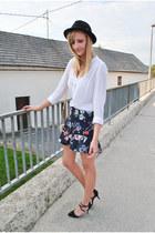 H&M blouse - H&M hat - new look bag - asos heels - frill Zara skirt