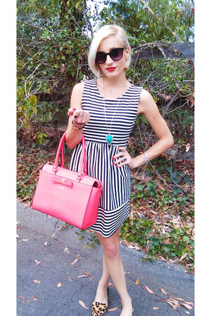 hot pink satchel kate spade bag - TJ Maxx dress - black Target sunglasses