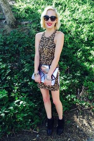 black ankle boots Sole Society boots - leopard print Victorias Secret dress
