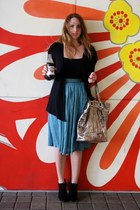 blue sheer viva vintage skirt - black TJ Maxx boots - black shirt