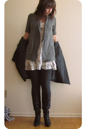 white Forever 21 dress - silver Sirens cardigan - gray Suzy Shier jacket - black