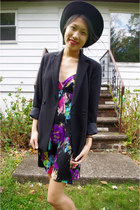 vintage hat - H8ter dress - vintage blazer