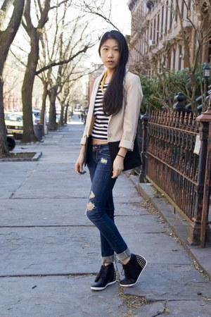 H&amp;M blazer - PacSun jeans - Pop Basic necklace - My Hot Shoes sneakers